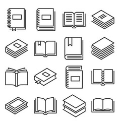 books icons set on white background line style vector image