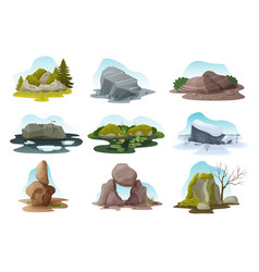 Boulder and rock stone isolated vector