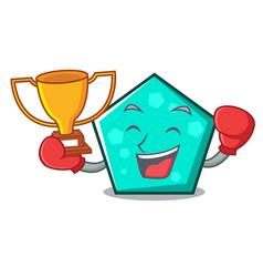 boxing winner pentagon mascot cartoon style vector image