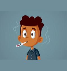 Boy feeling sick and feverish cartoon vector