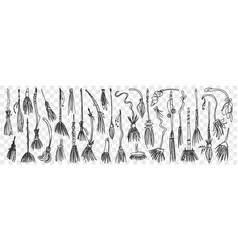 Brooms hand drawn doodle set vector