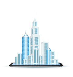 Business City on Tablet Computer vector image