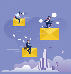 businessman riding big flying email vector image
