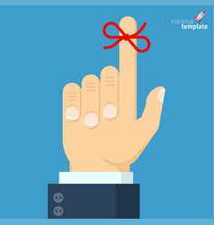 Businessmans hand with red bow vector