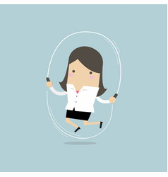 businesswoman is jumping rope vector image