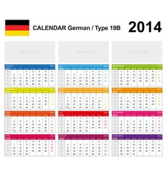 Calendar 2014 German Type 19B vector image