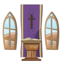 Catholic altar and windows interior church vector