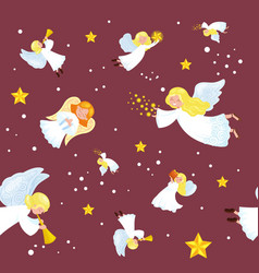 Christmas holiday flying angel in sky vector