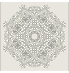 Circle flower ornament ornamental round lace vector