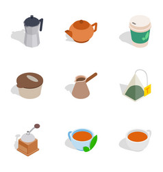 Coffee icons isometric 3d style vector