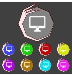 Computer widescreen monitor sign icon set color vector