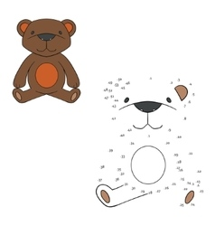 Connect the dots game bear vector image