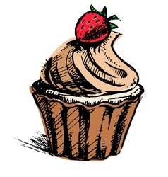 Creamy cup cake with delicious berry vector image