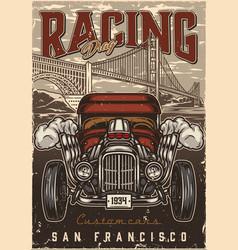 custom cars drag racing vintage poster vector image
