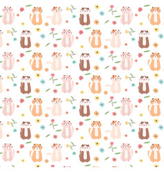 cute cat and floral pattern background vector image