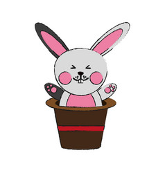 Cute rabbit or bunny coming out of magician hat vector