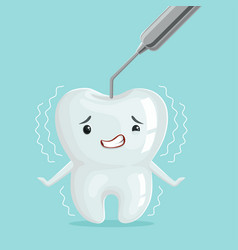 Cute white cartoon tooth character with dentist vector