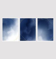 Dark blue watercolor wash splash with golden vector
