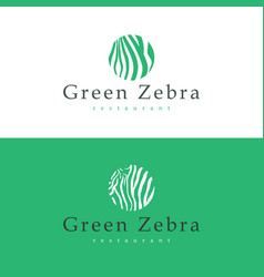 design business card restaurant green zebra vector image vector image