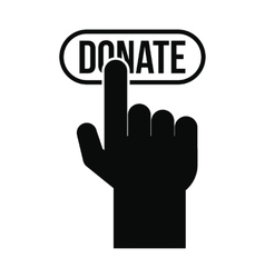 Donate button pressed by hand icon vector