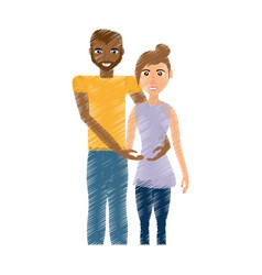 Drawing couple romantic mixed race vector