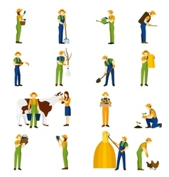 Farmer at work flat icons set vector