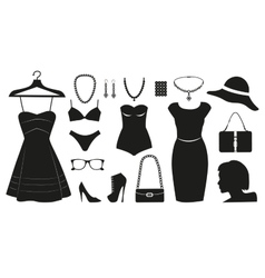 Fashion icons collectuin for woman vector image