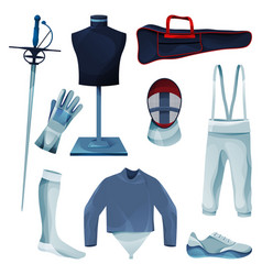 Fencing equipment or game tools collection set vector