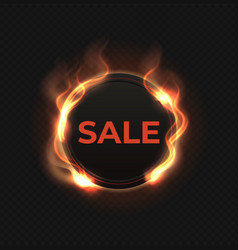 fire sale label realistic flame banner burned vector image