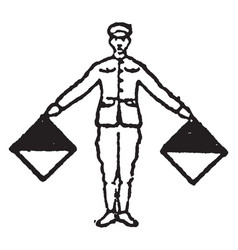 Flag signal for the letter n vintage vector
