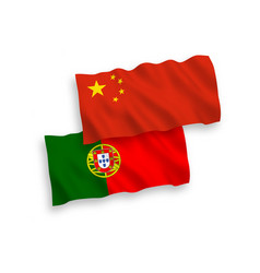 flags portugal and china on a white background vector image