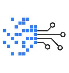 Flat digital circuit transformation icon vector