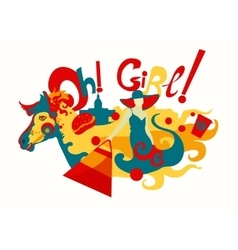 Girl And Horse Decorative vector