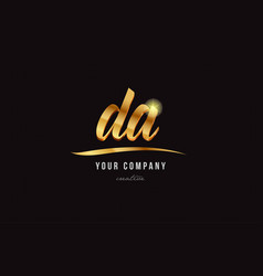 Gold alphabet letter da d a logo combination icon vector