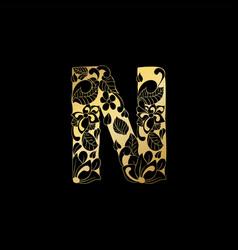 Golden ornamental alphabet letter n font vector