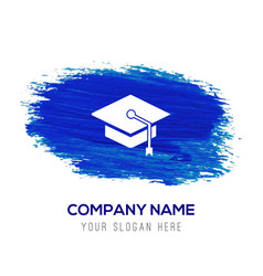 graduation cap icon - blue watercolor background vector image