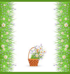 Green grass daisy chamomile border frame vector
