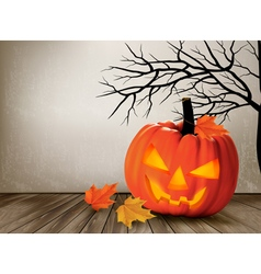 Halloween background with a Jack O Lantern vector