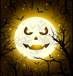 halloween greeting card with scary face vector image
