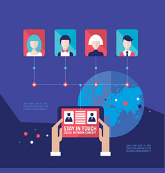 hands holding tablet with web icons social vector image