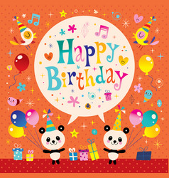 Happy birthday kids greeting card vector