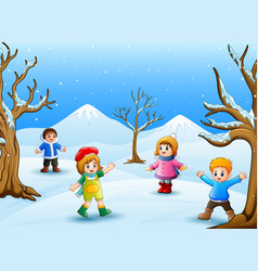 Happy kids playing outdoors in winter vector
