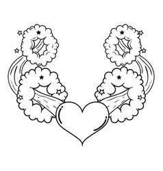 heart pop art style vector image