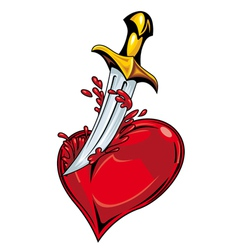 Heart with sword vector