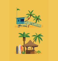 hot summer beach design elements vector image