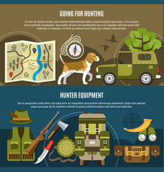 hunting horizontal banners set vector image