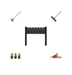 Icon flat farm set of rake brazier hoe and other vector