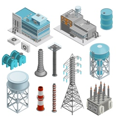 Industrial Buildings Isometric Icons Set vector