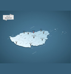 isometric 3d mauritius map concept vector image