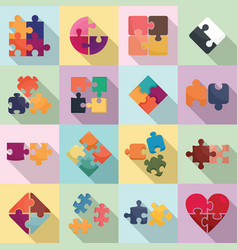 Jigsaw icons set flat style vector
